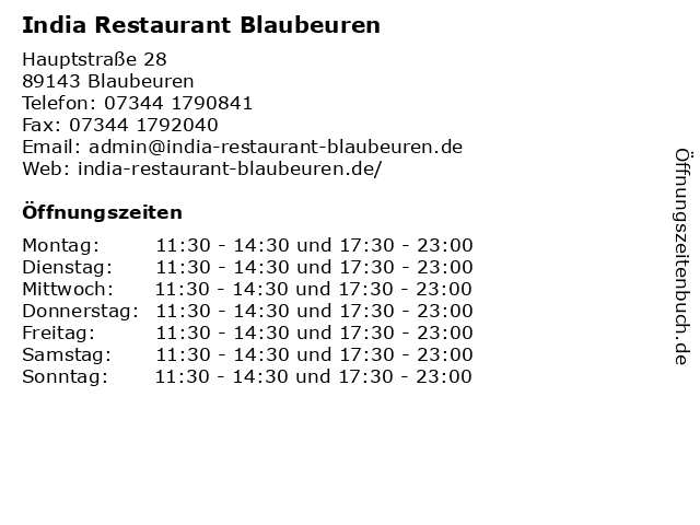 India Restaurant Blaubeuren in Blaubeuren: Adresse und Öffnungszeiten