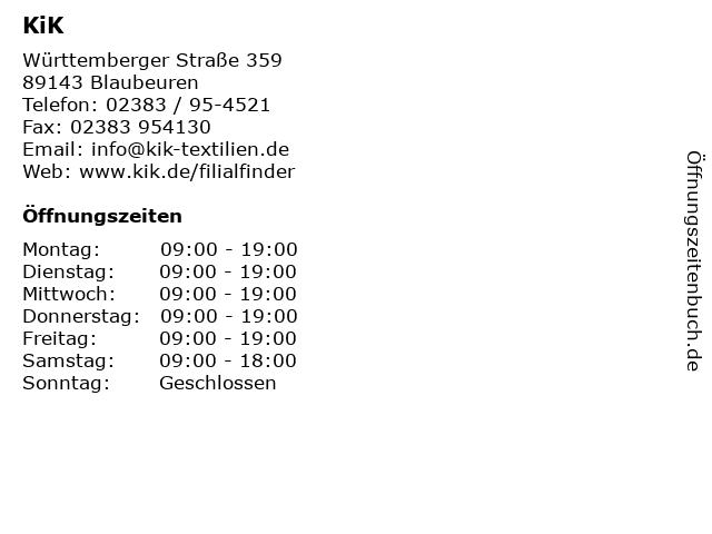 KiK in Blaubeuren: Adresse und Öffnungszeiten