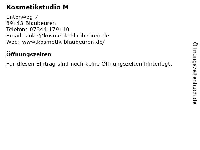 Kosmetikstudio M in Blaubeuren: Adresse und Öffnungszeiten