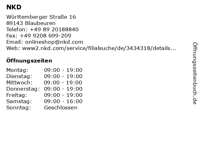 NKD in Blaubeuren: Adresse und Öffnungszeiten