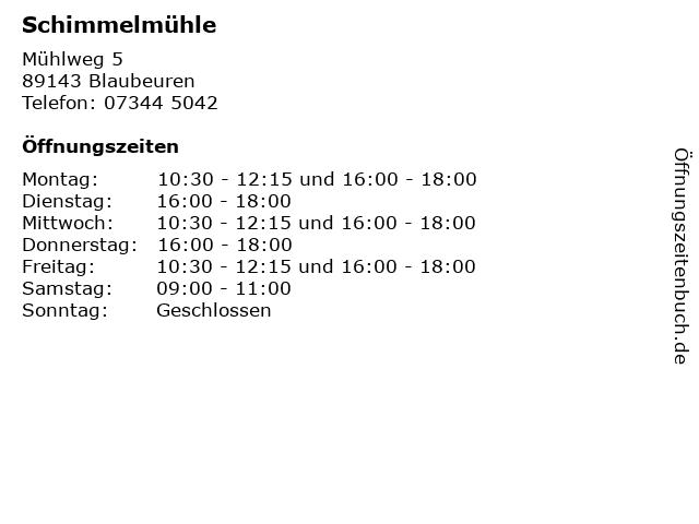 Schimmelmühle in Blaubeuren: Adresse und Öffnungszeiten