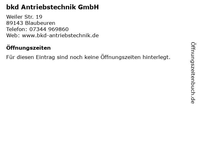 bkd Antriebstechnik GmbH in Blaubeuren: Adresse und Öffnungszeiten