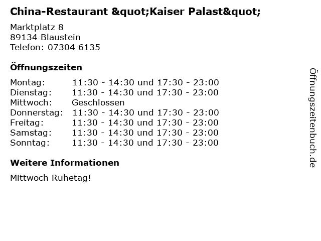 """China-Restaurant """"Kaiser Palast"""" in Blaustein: Adresse und Öffnungszeiten"""