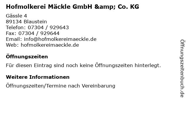Hofmolkerei Mäckle GmbH & Co. KG in Blaustein: Adresse und Öffnungszeiten