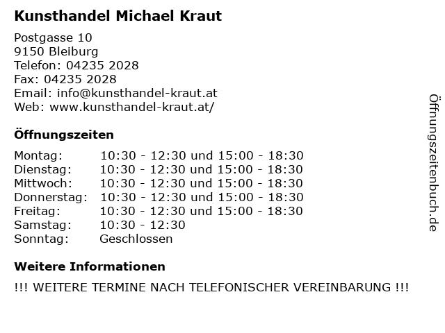 Kunsthandel Michael Kraut in Bleiburg: Adresse und Öffnungszeiten