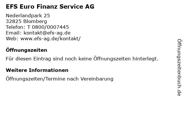 EFS Euro Finanz Service AG in Blomberg: Adresse und Öffnungszeiten