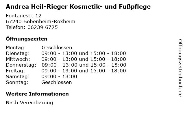 Andrea Heil-Rieger Kosmetik- und Fußpflege in Bobenheim-Roxheim: Adresse und Öffnungszeiten