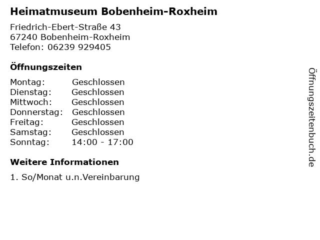 Heimatmuseum Bobenheim-Roxheim in Bobenheim-Roxheim: Adresse und Öffnungszeiten