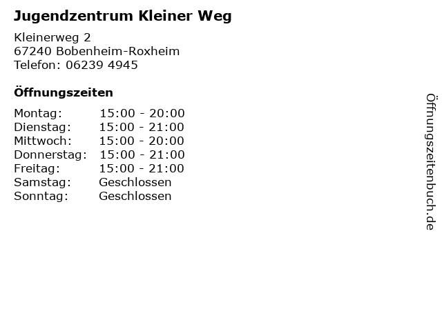 Jugendzentrum Kleiner Weg in Bobenheim-Roxheim: Adresse und Öffnungszeiten