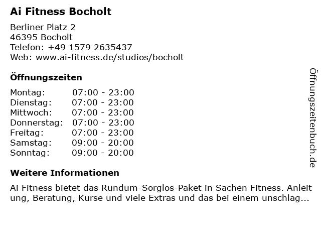 A.I. Fitness Bocholt GmbH in Bocholt: Adresse und Öffnungszeiten