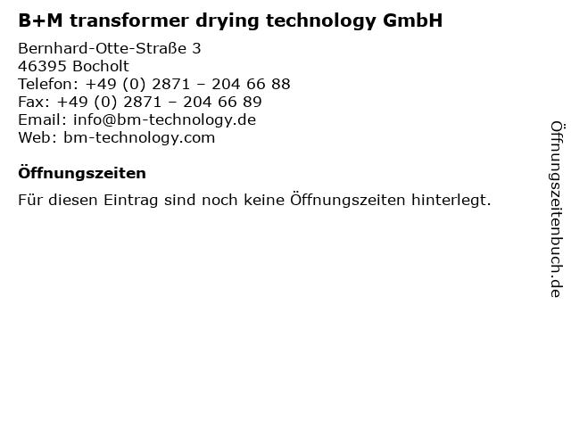 B+M transformer drying technology GmbH in Bocholt: Adresse und Öffnungszeiten
