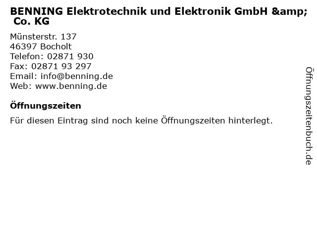 BENNING Elektrotechnik und Elektronik GmbH & Co. KG in Bocholt: Adresse und Öffnungszeiten