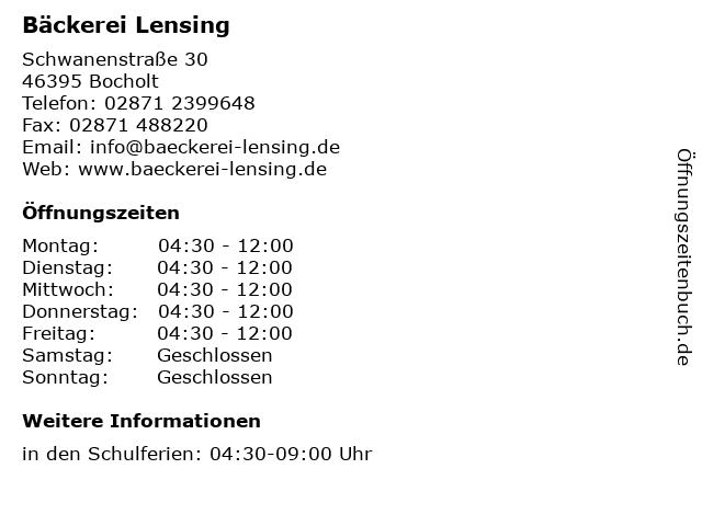 Bäckerei Lensing in Bocholt: Adresse und Öffnungszeiten