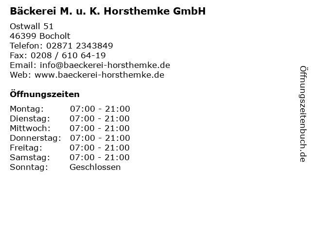 Bäckerei M. u. K. Horsthemke GmbH in Bocholt: Adresse und Öffnungszeiten