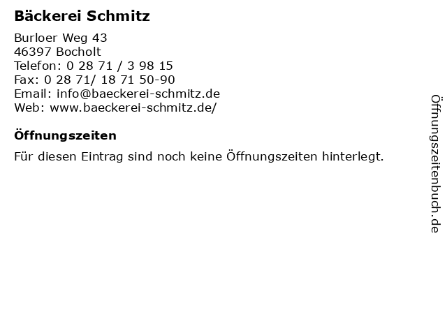 Bäckerei Schmitz in Bocholt: Adresse und Öffnungszeiten