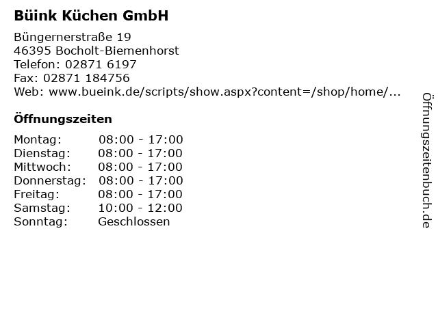 Büink Küchen GmbH in Bocholt-Biemenhorst: Adresse und Öffnungszeiten