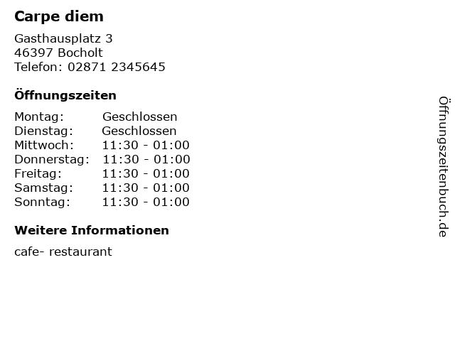 Carpe diem in Bocholt: Adresse und Öffnungszeiten