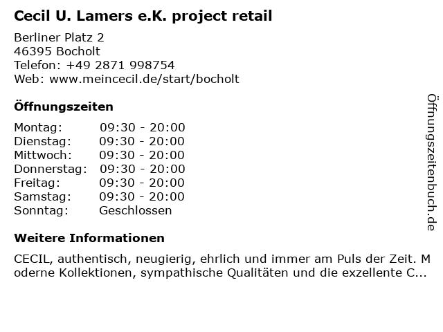 Cecil U. Lamers e.K. project retail in Bocholt: Adresse und Öffnungszeiten