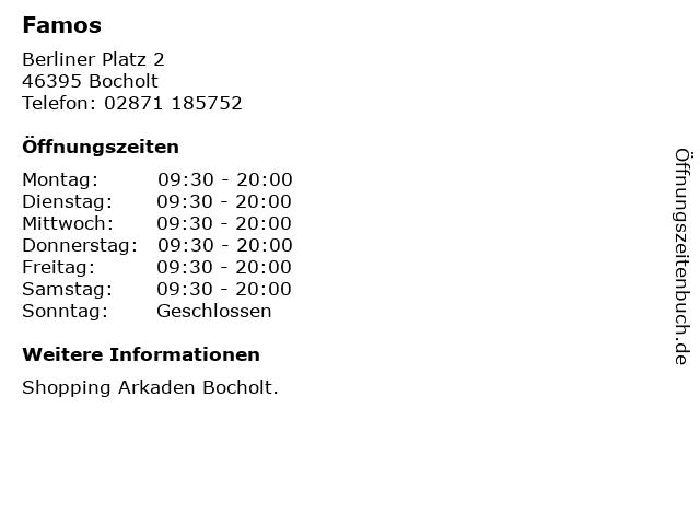 Famos in Bocholt: Adresse und Öffnungszeiten