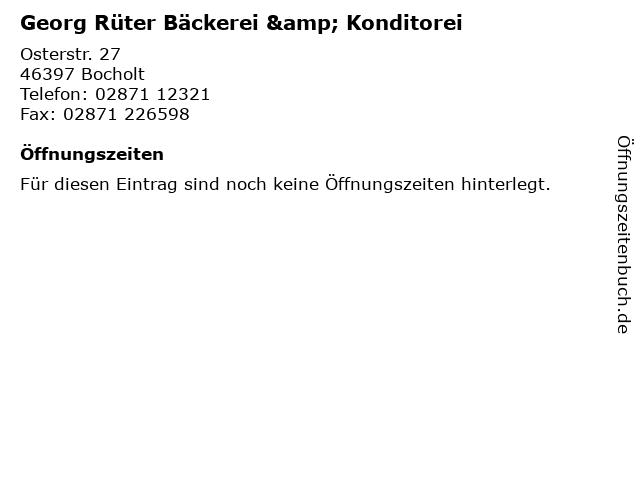 Georg Rüter Bäckerei & Konditorei in Bocholt: Adresse und Öffnungszeiten