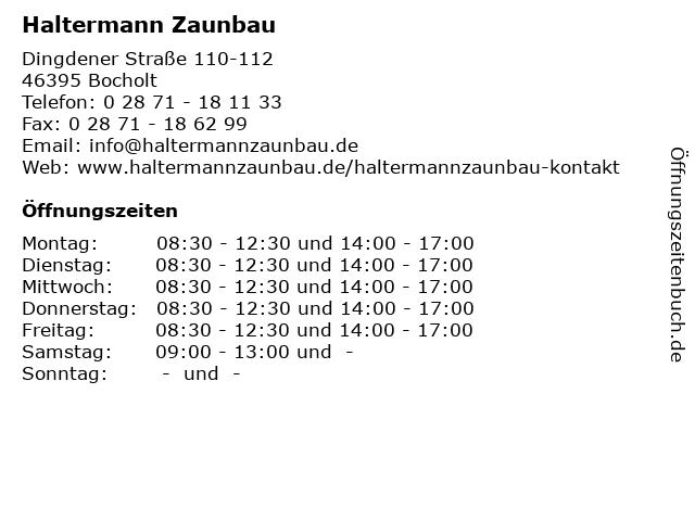 Haltermann Zaunbau in Bocholt: Adresse und Öffnungszeiten