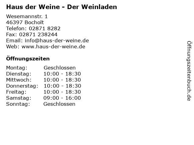 Haus der Weine - Der Weinladen in Bocholt: Adresse und Öffnungszeiten