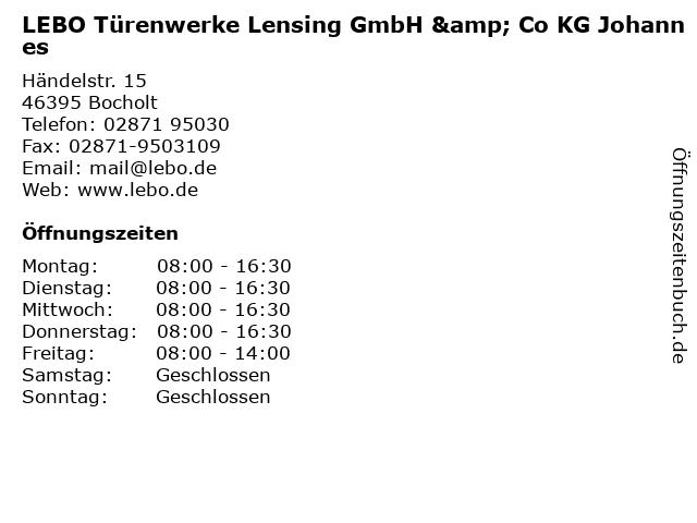 LEBO Türenwerke Lensing GmbH & Co KG Johannes in Bocholt: Adresse und Öffnungszeiten