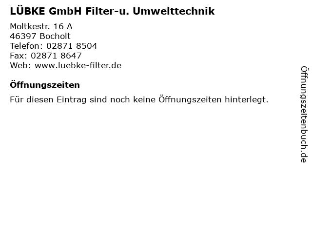 LÜBKE GmbH Filter-u. Umwelttechnik in Bocholt: Adresse und Öffnungszeiten