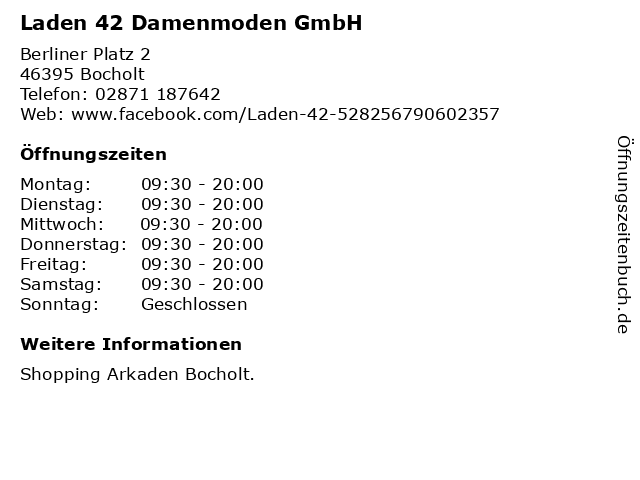 Laden 42 Damenmoden GmbH in Bocholt: Adresse und Öffnungszeiten