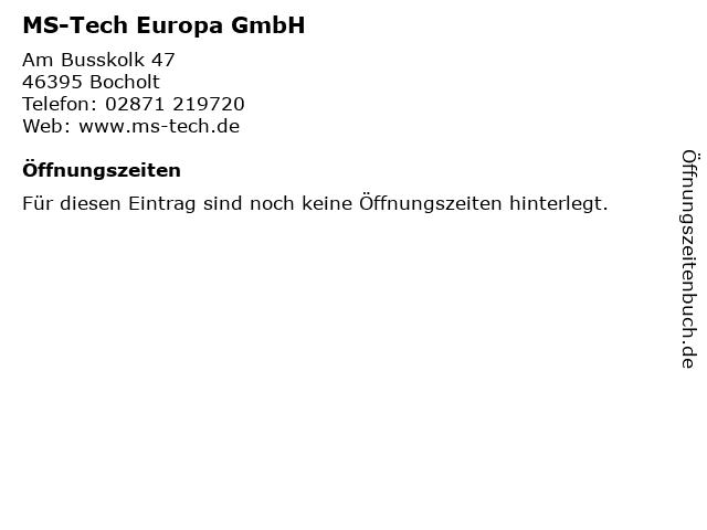 MS-Tech Europa GmbH in Bocholt: Adresse und Öffnungszeiten