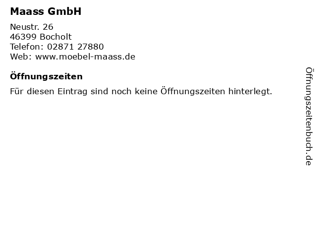 Maass GmbH in Bocholt: Adresse und Öffnungszeiten