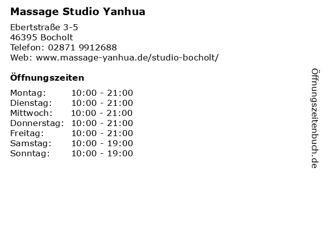 Massage Studio Yanhua in Bocholt: Adresse und Öffnungszeiten