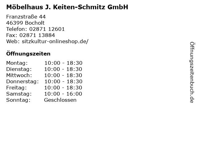 Möbelhaus J. Keiten-Schmitz GmbH in Bocholt: Adresse und Öffnungszeiten