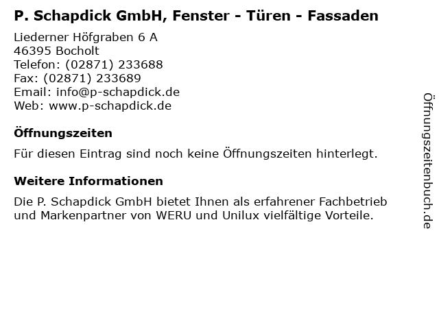 P. Schapdick GmbH, Fenster - Türen - Fassaden in Bocholt: Adresse und Öffnungszeiten