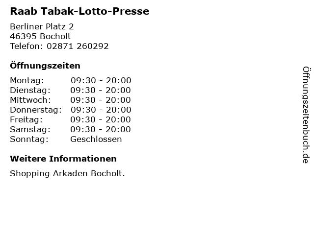 Raab Tabak-Lotto-Presse in Bocholt: Adresse und Öffnungszeiten