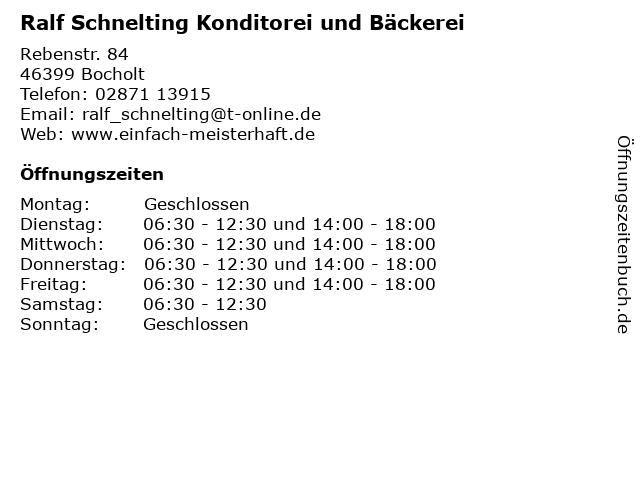 Ralf Schnelting Konditorei und Bäckerei in Bocholt: Adresse und Öffnungszeiten