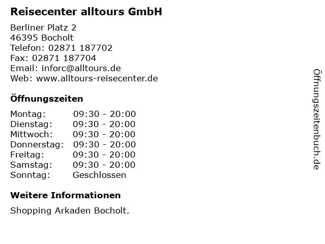 Reisecenter alltours GmbH in Bocholt: Adresse und Öffnungszeiten