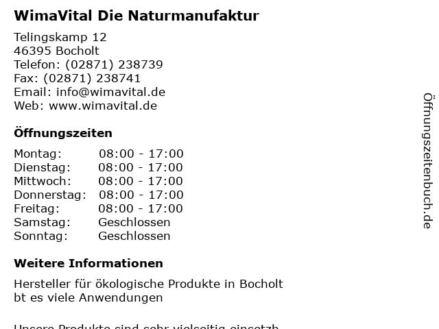 WimaVital Die Naturmanufaktur in Bocholt: Adresse und Öffnungszeiten
