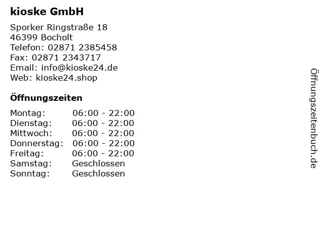 kioske GmbH in Bocholt: Adresse und Öffnungszeiten