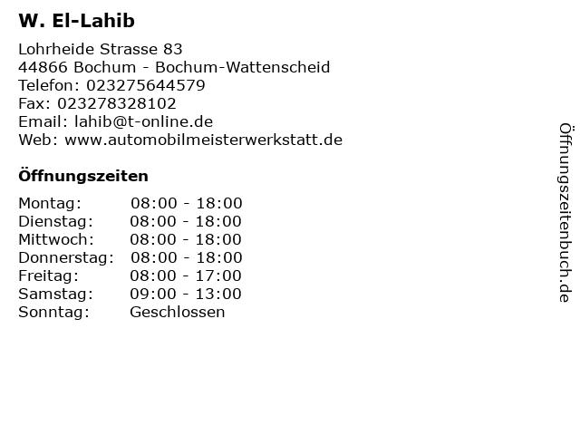W. El-Lahib in Bochum - Bochum-Wattenscheid: Adresse und Öffnungszeiten