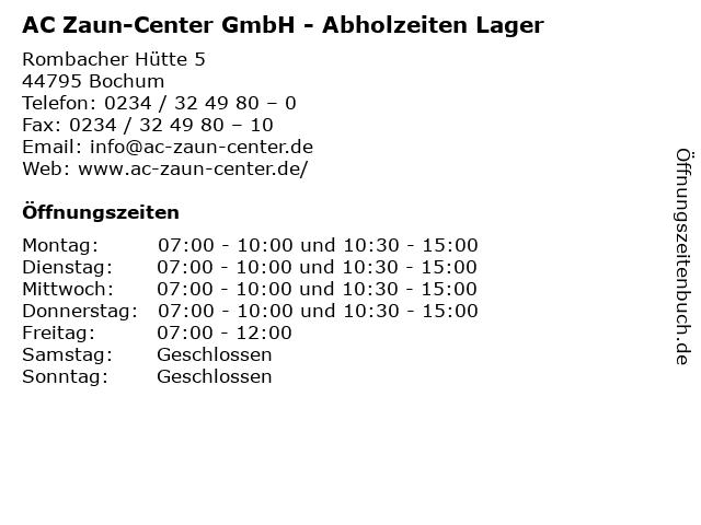 AC Zaun-Center GmbH - Abholzeiten Lager in Bochum: Adresse und Öffnungszeiten