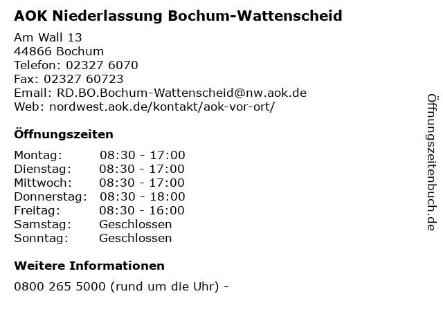 AOK Niederlassung Bochum-Wattenscheid in Bochum: Adresse und Öffnungszeiten