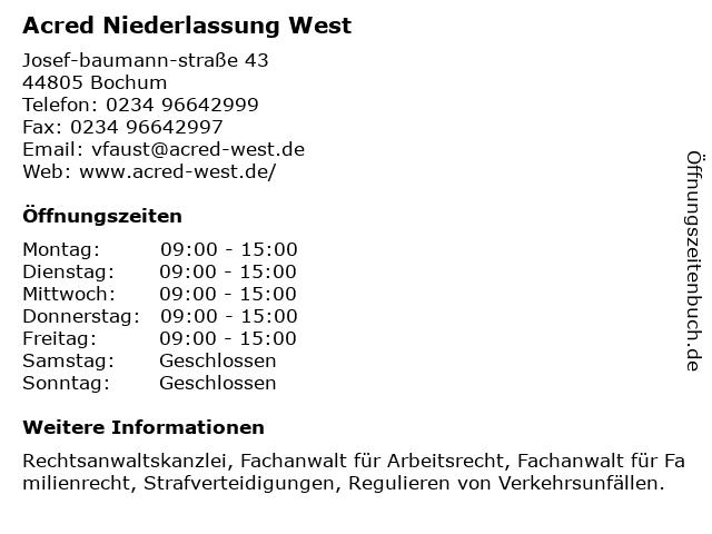 Acred Niederlassung West in Bochum: Adresse und Öffnungszeiten