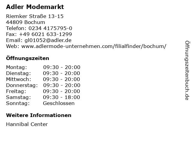 Adler Modemärkte AG in Bochum: Adresse und Öffnungszeiten