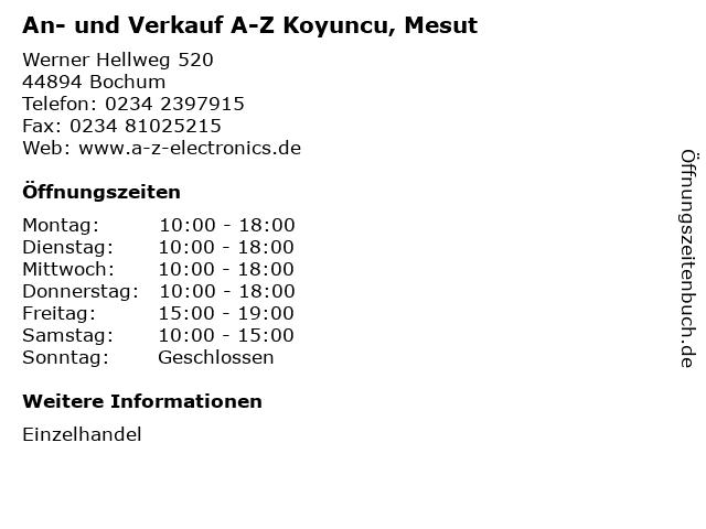 An- und Verkauf A-Z Koyuncu, Mesut in Bochum: Adresse und Öffnungszeiten