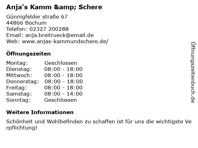 Anja's Kamm & Schere in Bochum: Adresse und Öffnungszeiten