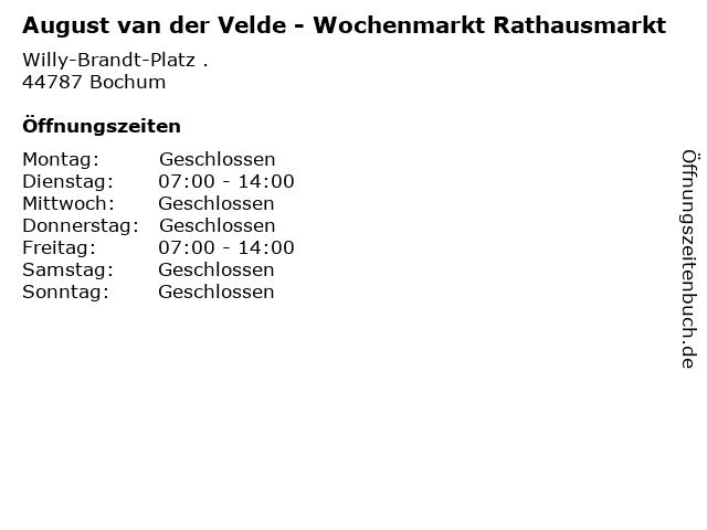 August van der Velde - Wochenmarkt Rathausmarkt in Bochum: Adresse und Öffnungszeiten