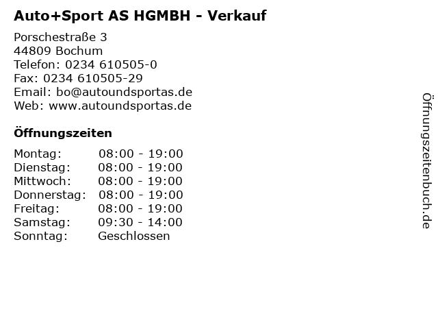 Auto+Sport AS HGMBH - Verkauf in Bochum: Adresse und Öffnungszeiten