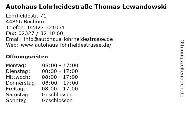 Autohaus Lohrheidestraße Thomas Lewandowski in Bochum: Adresse und Öffnungszeiten