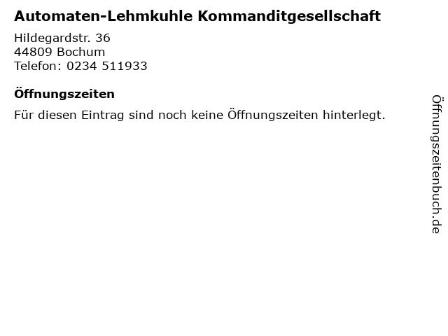 Automaten-Lehmkuhle Kommanditgesellschaft in Bochum: Adresse und Öffnungszeiten